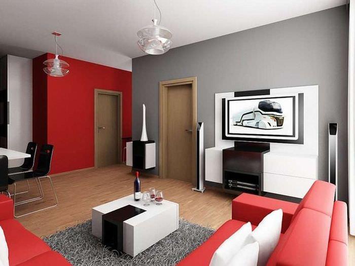 Красный цвет в интерьере современной комнаты