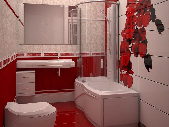 Красная кафельная плитка на стене и полу ванной с туалетом