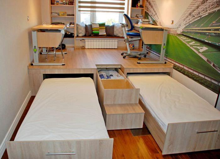 Детская комната с выдвижными кроватями