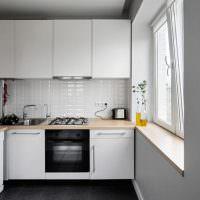 Интерьер маленькой кухни Г-образной планировки