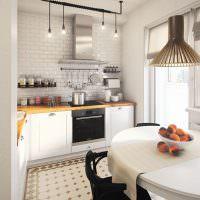 Светлая кухня в стиле лофт