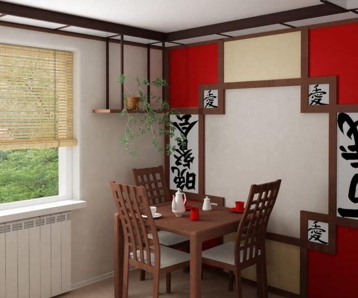 Красно-белая кухня в восточном стиле