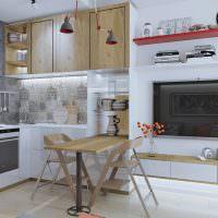 Дизайн кухонной зоны с барной стойкой