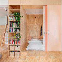 Мебель из фанеры в квартире-студии