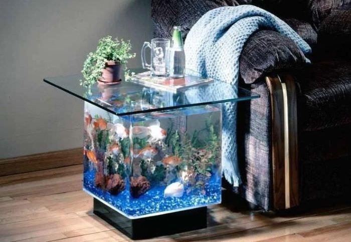 Небольшой аквариум как предмет мебели