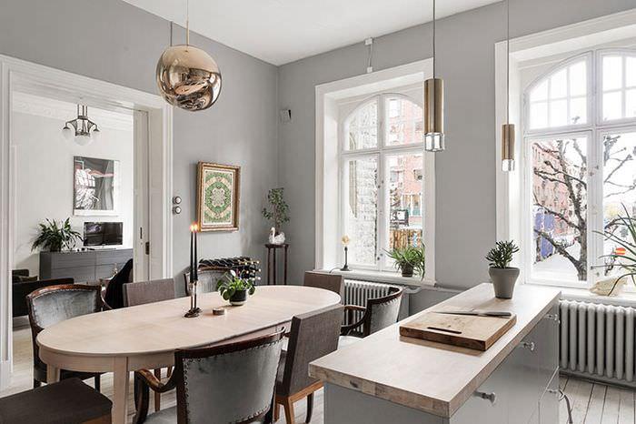 Оформление обеденной зоны кухни в стиле арт деко