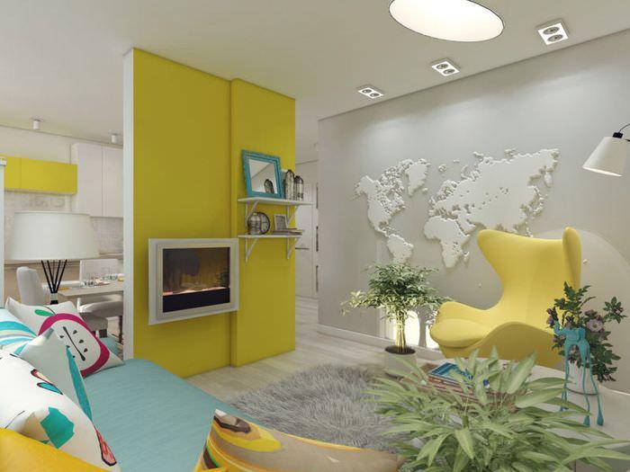 Красивая гостиная комната с контрастными цветами