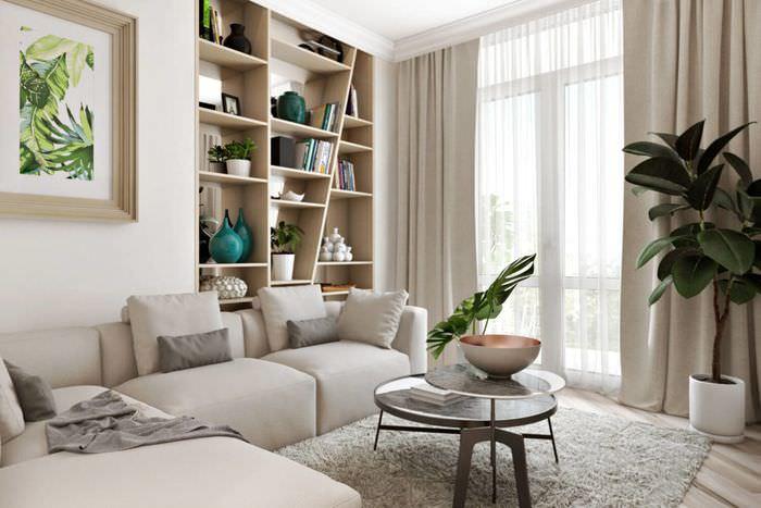 Книжный стеллаж в декорировании гостиной комнаты