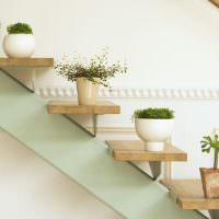 Полочки для комнатных растений на перилах лестницы