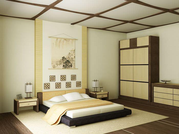 Дизайн спальной комнаты в японском стиле в трехкомнатной квартире