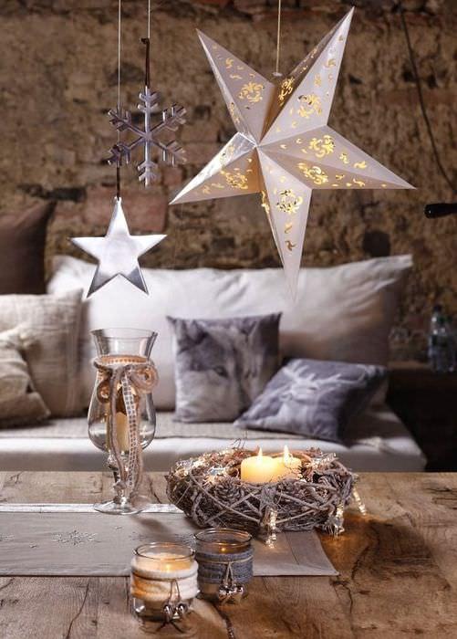 Новогодняя звезда на леске-подвеске