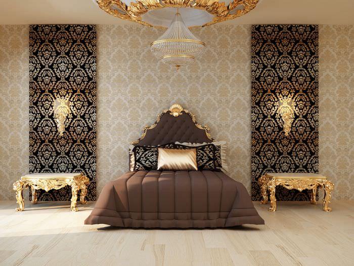 Два цвета обоев на одной стене спальни