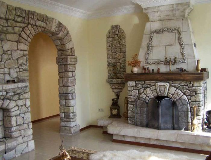 Облицовка арки природным камнем