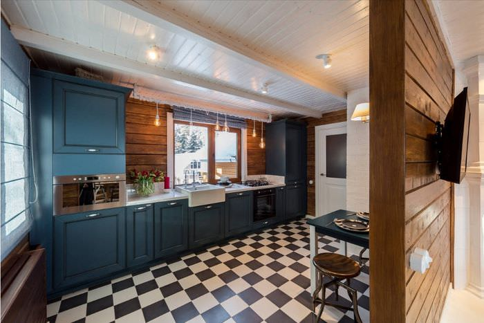 Линейная кухня в загородного доме из бруса