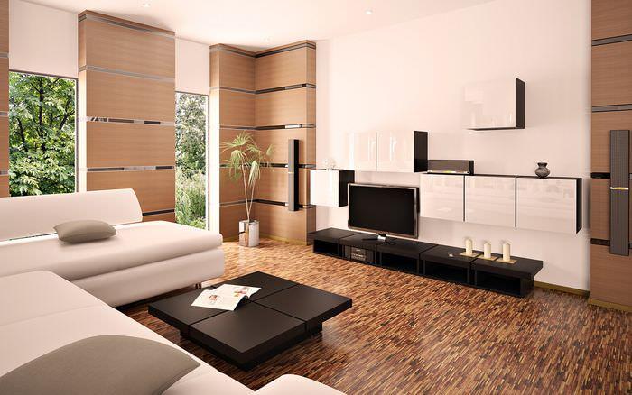 Интерьер современного зала в стиле модерн