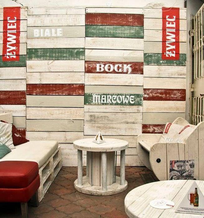Барная мебель из старых поддонов