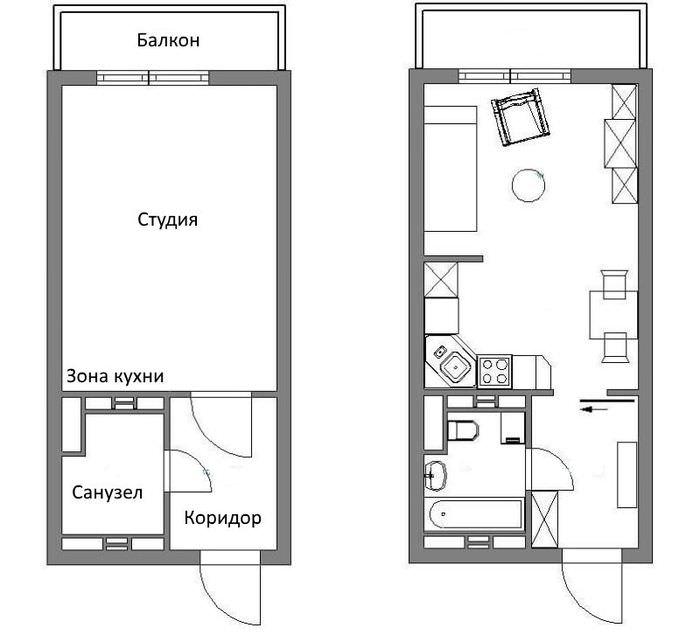 Схема квартиры-студии площадью в 25 кв м