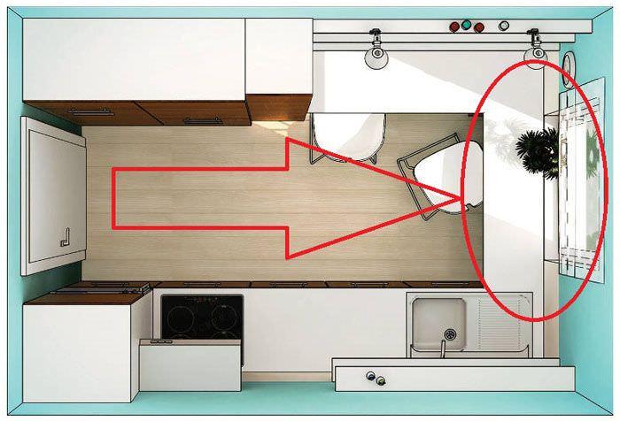 Параллельная планировка узкой кухни