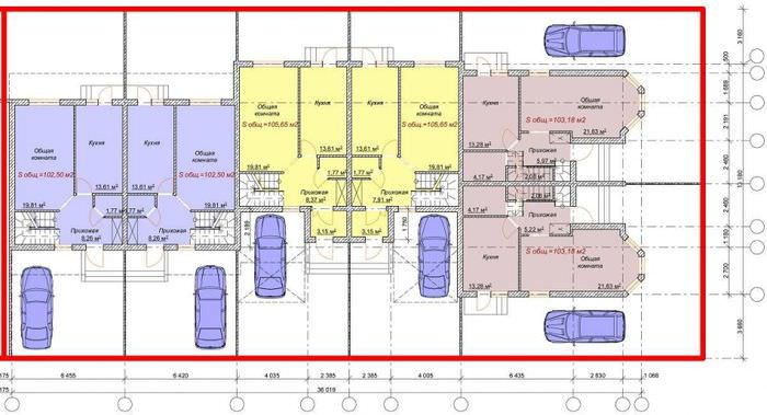 Планировка современного таунхауса с указанием мест для парковки