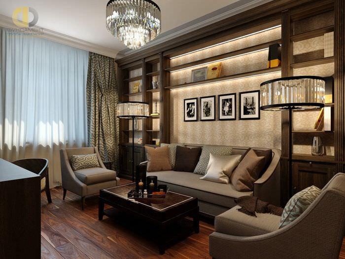 Открыты полки с подсветкой в гостиной комнате