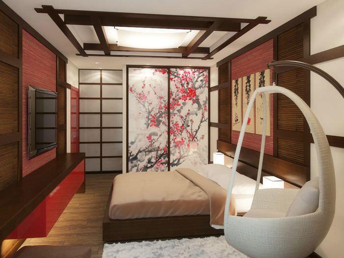 Подвесное кресло в японской спальне