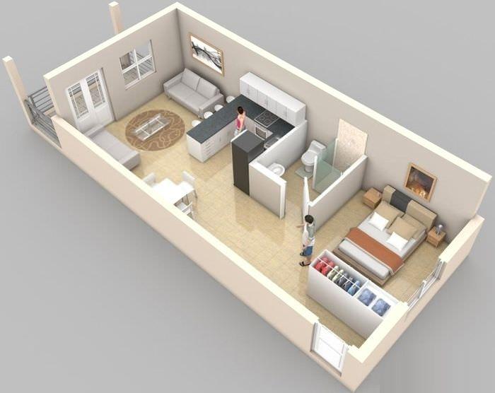 Дизайн-проект вытянутой квартиры студии