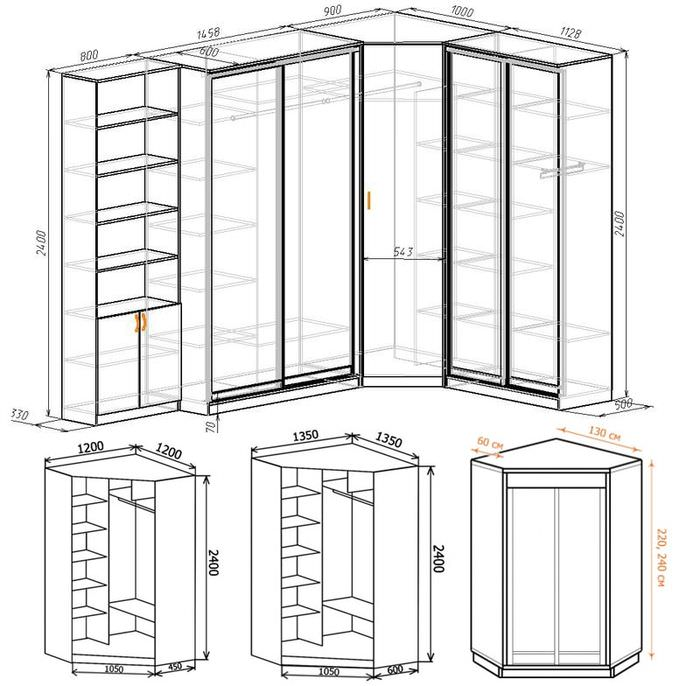 Схемы угловых шкафов-купе с размерами
