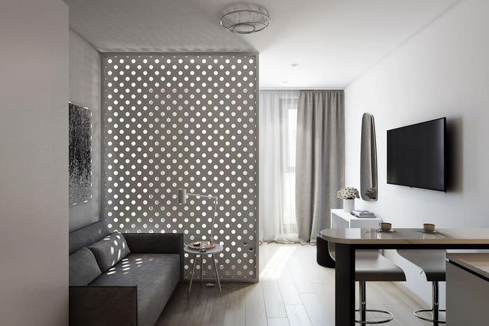 Дизайн квартиры=студии с одним окном в стиле минимализма