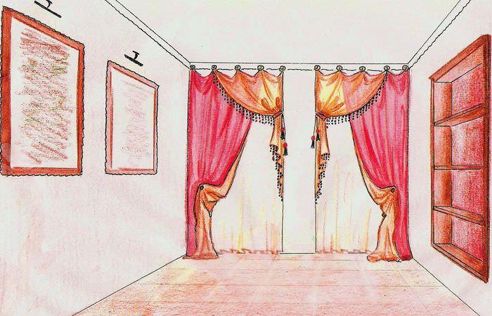 Дизайн-проект штор в комнату с одним окном