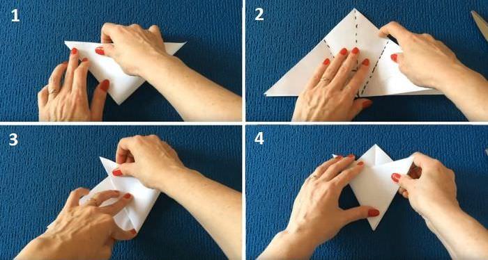 Порядок сгибания бумаги при изготовлении снежинки