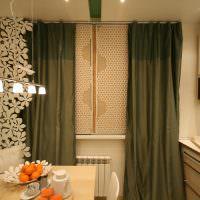 Темно-оливковые шторы в кухне многоэтажного дома