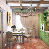 Зеленый гарнитур на кухне в деревенском стиле