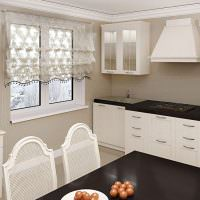 Белая кухонная мебель с черными столешницами