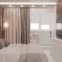 Спальня с балконом в стиле минимализма