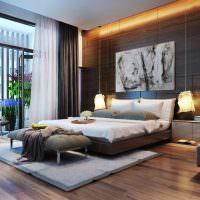 Отделка стены спальни деревянными панелями