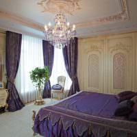 Темно-фиолетовый текстиль в дизайне спального помещения
