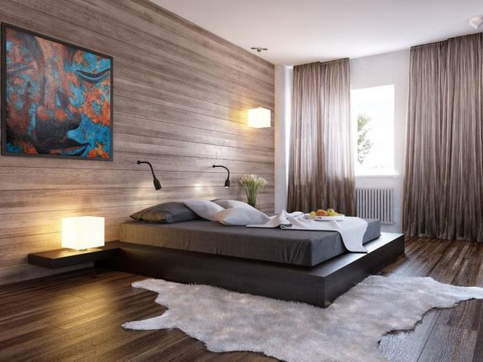 Интерьер спальной комнаты в стиле хай-тек с полупрозрачными шторами