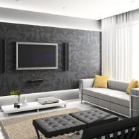 Интерьер зала в черно-белом цвете