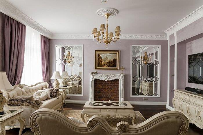 Сиреневые шторы в интерьере классической гостиной
