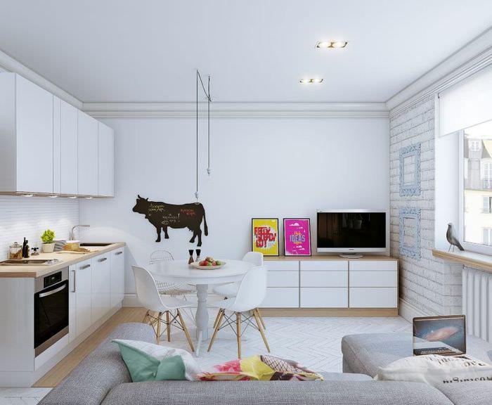 Дизайн белой гостиной в скандинавском стиле