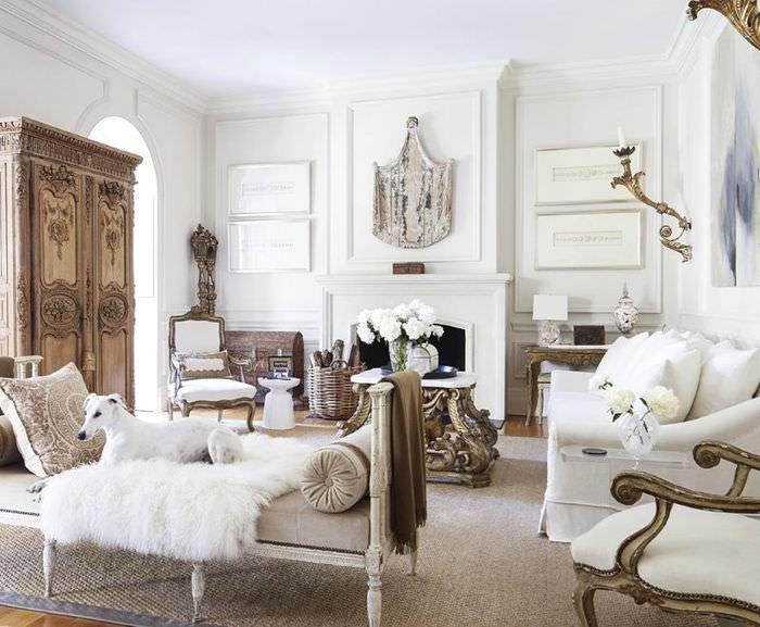 Интерьер гостиной в стиле французского прованса