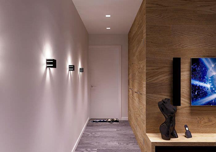 Интерьер узкой прихожей в современном стиле