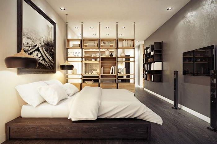Зонирование спальни с помощью стеллажа