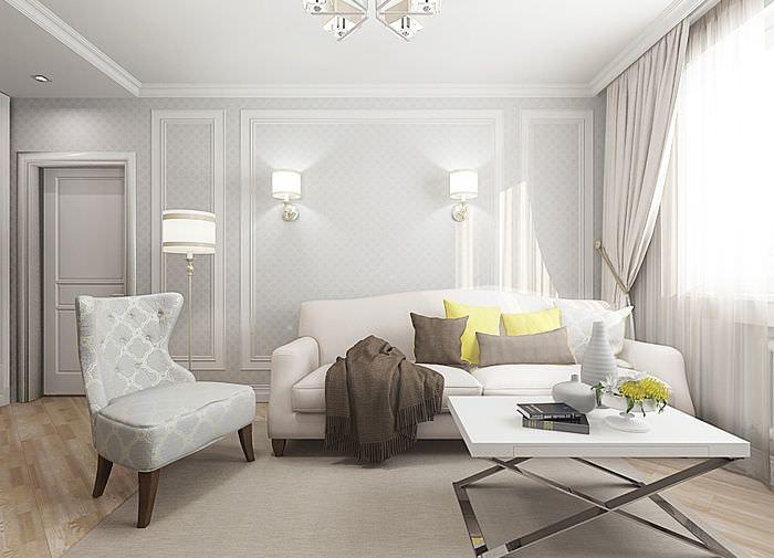 Дизайн гостиной в светлых пастельных оттенках
