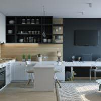 Черный цвет в оформлении квартиры-студии