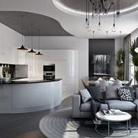 Многоуровневый потолок из гипсокартона в интерьере гостиной