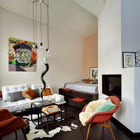 Интерьер общей комнаты в стиле поп-арт