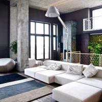 Серый бетон в интерьере квартиры-студии