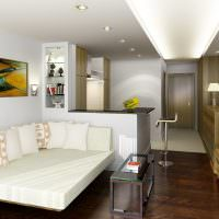 Зонирование комнаты напольным покрытием