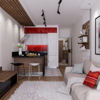 Коричневый цвет в дизайне вытянутой комнаты